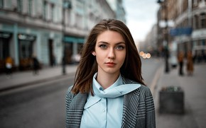 Picture road, the city, lights, glare, background, street, model, portrait, home, makeup, hairstyle, shirt, brown hair, …