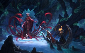 Picture boat, sword, art, male, soul, demoness, Styx, Explorer