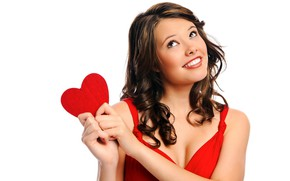 Picture girl, pose, smile, red, heart, makeup, dress, hairstyle, dreams, white background, brown hair, beautiful, in …