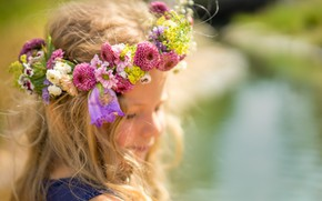 Picture flowers, girl, wreath