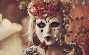 Picture girl, mood, mask, wreath