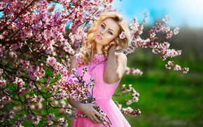 Picture makeup, dress, sponge, flowering, in pink
