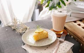 Picture lemon, coffee, pie, foam