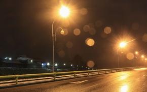 Picture road, asphalt, landscape, Night, lights