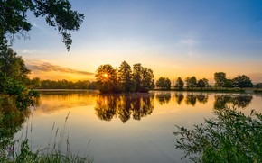 Picture trees, sunset, lake, Germany, Bayern