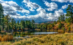 Picture USA, clouds, grass, the sky, the sun, forest, lake, trees, Colorado, mountains, Ouray