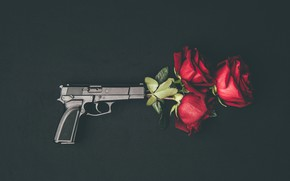 Picture flowers, gun, roses, buds