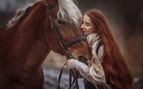 Wallpaper girl, mood, horse, horse, red, redhead, long hair, Annie Of Antikov
