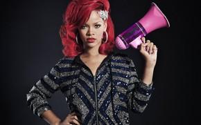 Picture singer, Rihanna, megaphone, red hair