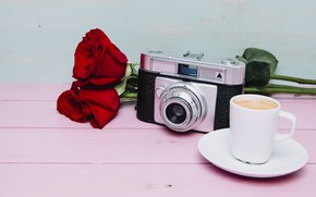 Picture flowers, coffee, roses, the camera