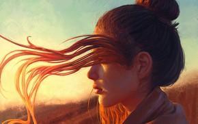 Picture Girl, Light, Red, Sun, Hair, Hear