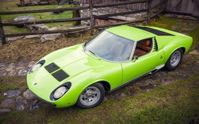 Picture Auto, Lamborghini, Retro, Green, Machine, 1969, Top, Lights, Car, Supercar, Miura, Supercar, Lamborghini Miura, Green, …
