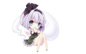 Picture rabbit, white background, bow, Chibi, touhou, art, bangs, big eyes, Myon, Konpaku Youmu, Touhou Project, …