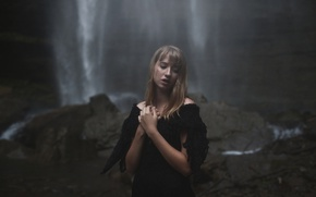 Picture girl, waterfall, in black, Aleah Michele, Diluted Thoughts