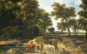 Picture landscape, oil, picture, canvas, Jacob van Ruisdael, The way!