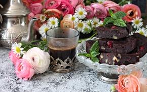 Picture flowers, coffee, strawberry, dessert, Ranunculus