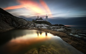 Wallpaper sunset, shore, lighthouse, sea