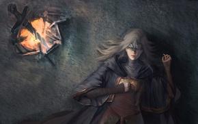 Wallpaper Dark Souls III, fire, ken, mask, sword, girl, woman, blade, dress, Dark Souls 3, spark, ...