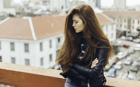 Picture girl, jacket, red, long hair