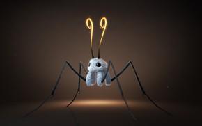 Picture bug, rendering, minimalism, art, 3D, Furry creature, Sebastian Montecinos