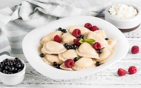 Picture berries, raspberry, currants, cheese, dumplings