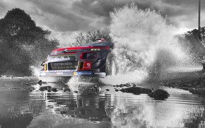 Wallpaper Puddle, Black and white, Citroen, Sport, Speed, WRC, Rally, The front, Lights, Rally, Water, The ...