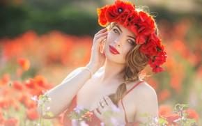 Picture look, girl, flowers, Maki, hands, wreath, bokeh