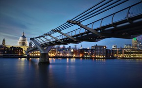 Wallpaper river, Millennium Bridge, skyline, lights, Thames, the city, London, bridge