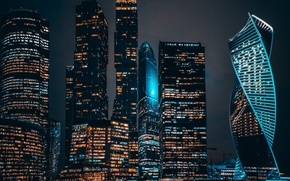 Wallpaper the city, the evening, night, Moscow city, lights