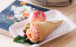 Picture rose, Apple, book, horn, waffles