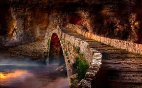 Picture water, landscape, bridge, fog, rock, river, romance, the atmosphere, Greece, masonry, arch, bricks, the bridge, …