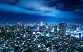 Picture the sky, night, the city, lights, Japan, Tokyo