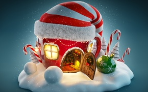 Wallpaper New Year, snow, Christmas, merry christmas, decoration