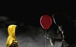 Picture night, red, fog, ball, clown, jacket, hood, air, yellow, poster, child, horror, Bill Skarsgård, It, ...