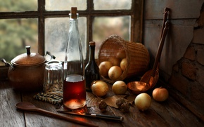 Picture glass, table, basket, bow, window, bottle, still life, The Corner