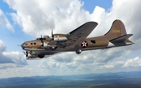 Picture Boeing, USA, bomber, USAF, four-engine, heavy, Flying Fortress, metal, B-17E