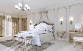 Picture simple, bed, interior, chandelier, bedroom, Luxury, Salina