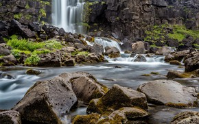 Picture stones, waterfall, river