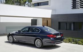Picture house, BMW, Parking, sedan, facade, xDrive, 530d, Luxury Line, 5, dark blue, four-door, 2017, 5-series, …