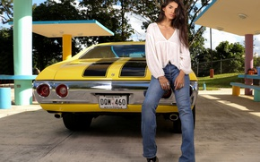 Picture machine, model, jeans, car, Chevrolet Nova, Chevrolet Chevy II