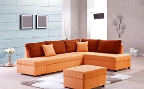 Picture flowers, design, room, sofa, interior, vase, living room