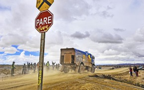 Picture Clouds, Grass, Dust, Sport, Speed, People, Race, Sign, Master, Dirt, Russia, Heat, Rails, Kamaz, Rally, …