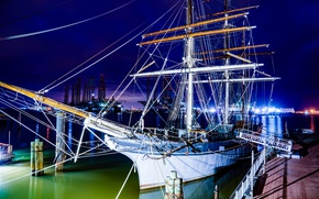 Picture night, lights, ship, Marina