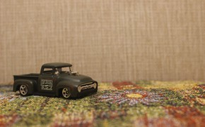 Picture machine, green, background, ford custom 56