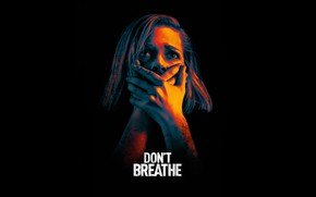 Picture girl, hands, black background, Thriller, poster, horror, Don't breathe, Dont Breathe