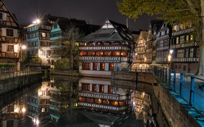 Picture night, lights, France, home, channel, Strasbourg
