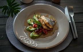 Picture fish, sauce, the second dish, zucchini
