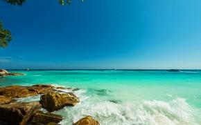 Picture sea, beach, summer, stones, Tropics, blue water