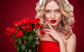 Picture look, girl, bouquet, makeup, lipstick, hairstyle, blonde, red, roses, Mykhailo Orlov