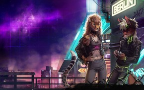 Picture Fox, The city, Stars, Neon, Background, Neon, Electronic, Cheetah, Berlin, Synthpop, Cyberpunk, Darkwave, Synth, Retrowave, ...